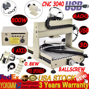 Usb Cnc 3040t 4 Axis 800w Router Engraver With Water cooling 1204 4 Ball Screw