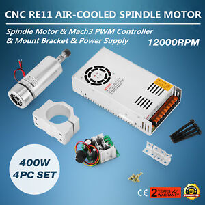 Cnc Spindle Motor 400w Er11 Mach3 Pwm Controller Mount Power Supply Kit