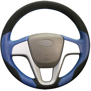 Suede Blue Leather Steering Cover For Hyundai Solaris Verna I20 Accent 0611
