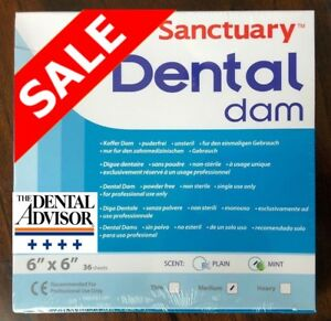 20 Box 720 Sheet Sanctuary Dental Rubber Dam Latex 6x6 Medium Mint Green onsale