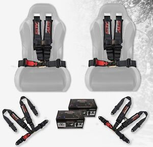 Stv Motorsports Racing Seat Belt Harness Black 4 Point 2 Inch Offroad set Of 2