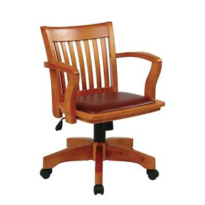 Banker s Chair Wood Desk Office Furniture Padded Brown Mans Tall Big Executive