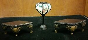 Japanese Hina Doll Miniature Furniture 2 Tables Lamp Black Lacquer Look