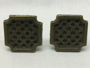 2 Vintage Drawer Knobs Brass Ornate Square Design 1 Diy Project Hardware