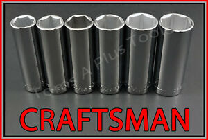 Craftsman Hand Tools 6pc Lot 1 2 Dr Deep Sae 6pt Ratchet Wrench Socket Set