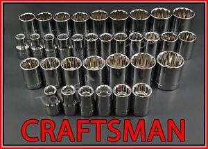 Craftsman Hand Tools 34pc Lot 12pt 1 2 Sae Metric Mm Ratchet Wrench Socket Set