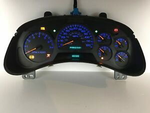 02 03 04 Trailblazer Speedometer Instrument Gauge Cluster Blue Leds