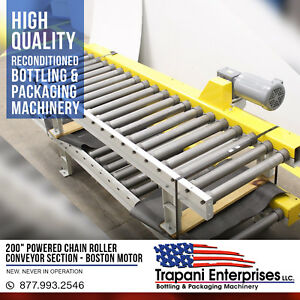 200 Powered Chain Roller Conveyor Section Boston 3 4hp 220 460 3 Phase Motor