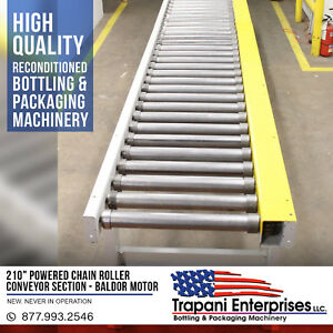 new 210 Powered Chain Roller Conveyor Section Baldor 3 4hp 3 Phase packaging