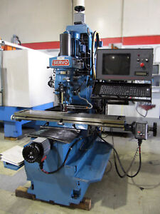 Servo 4000 3 axis Cnc Mill 3 hp 30 taper 10 x54 Table 5000 rpm