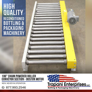 100 Chain Powered Roller Conveyor Section Boston 3 4hp 3 Phase Motor Unused