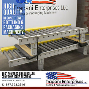 new 180 Powered Chain Roller Conveyor Idler Sections packaging bottling