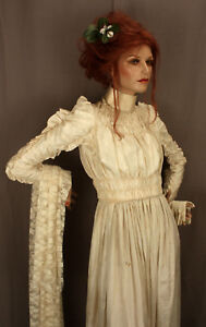 Antique Wedding Dress Veil Gloves And Vintage Red haired Mannequin Doll