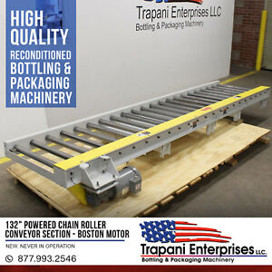 132 Powered Chain Roller Conveyor Section Boston 5 Hp 3 Phase Motor 220 460v