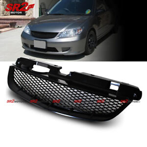 Mesh Abs Black Front Hood Grill Grille Fits 2004 2005 Honda Civic Coupe Sedan
