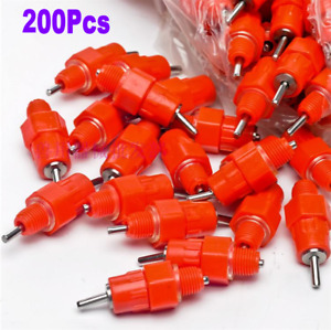 200 Pcs Water Nipple Drinker Poultry Chicken Duck Screw In 360 Angle