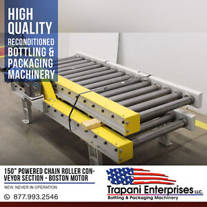 new 150 Powered Chain Roller Conveyor Section Boston 3 4hp 220 460