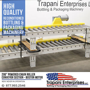 new 200 Powered Chain Roller Conveyor Section Boston 3 4hp 220 460 3 Phase