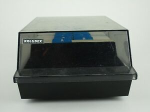 Vintage Rolodex Vip35c 3x5 Black Smoke Lid Complete Full Of Blank Cards