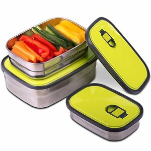Reusable Food Containers Set Of 3 Lightweight Durable Multi use Stainless