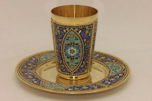 Perfect Handmade Silver Enamel Russian Amazing Cup And Plate