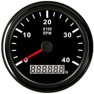 85mm Black Tachometer 0 4000rpm For Gasoline Diesel Engine 9v 32v Free Shipping