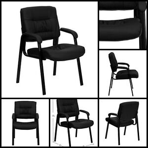 Office Conference Black Leather Executive Side Guest Chair Reception Lecture New