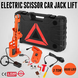 Electric Scissor Car Jack Lift Automotive 3 Ton 6600 Lbs 12v 1 2 Impact Wrench