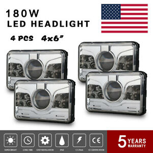 Cree 4x6 led Projector Headlight For Kenworth H4 h13 T600 Sealed Beam Angeleyes