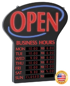 Newon Led Open Sign With Programmable Business Hours And Flashing Effects Red