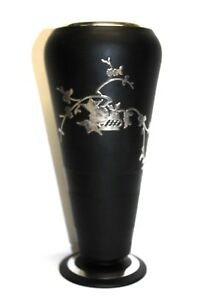 Rockwell Sterling Silver Overlay Art Deco Black Glass Vase Foliage Scrolls