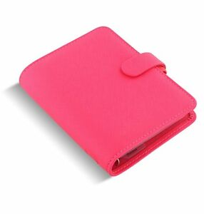 Filofax Saffiano Pocket Fluro Pink Scheduler 0 3 4in Vl Organiser Faux Lether