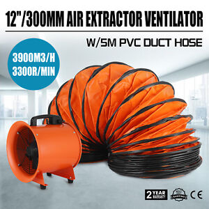 12 Extractor Fan Blower Ventilator 5m Duct Hose Low Noise High Rotation 300mm