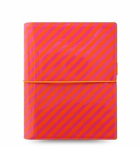 Filofax Domino Patent A5 Orange pink Stripes 1 3 16in Diary Organiser 022574