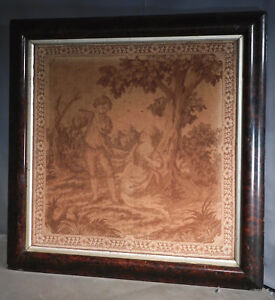 Antique 19th C French Sepia Tone Tapestry Faux Burl Wood Ogee Picture Frame Old