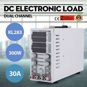 Dual Channel Adjustable Lcd Dc Electronic Load 300w 80v 30a Kl283 Usa Fast Ship