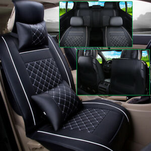 Us 5 seat Car Suv M Size Pu Leather Seat Covers Front rear 4pc Free Pillows Set