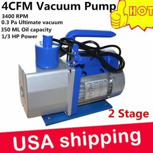 Dual 2 Stage 4cfm 1 3hp Rotary Vane Deep Vacuum Pump Hvac Ac Air Tool R410a Bb
