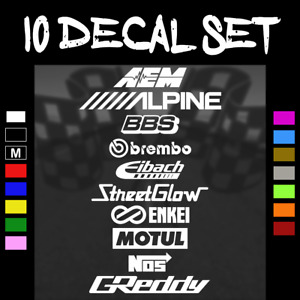 10 Car Sponsor Decal Pack Multiple Colors Jdm Racing Stickers 3
