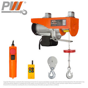 550 Lbs 1 100 Lbs Electric Overhead Rope Hoist 110 120v 60hz W Emergency