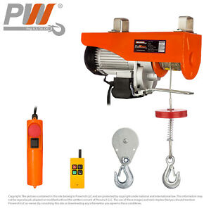 1 100 Lbs 2 200 Lbs Electric Rope Hoist 110 120v 60hz W Emergency Stop