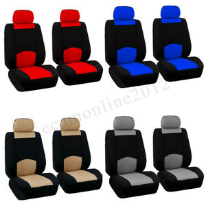 Universal Car Seat Covers Polyester For Truck Suv 2 Heads Beige Blue Red Gray