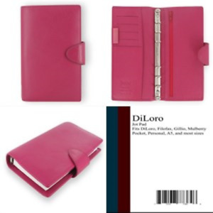 Weekly Daily Planner Calipso Leather Compact Deep Pink Organizer Agenda Diary