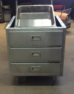 Commercial Stainless Steel Three Drawer With Removable Pans Base Cabinet