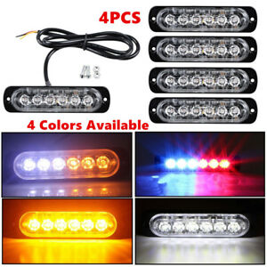4pc 6 Led Light Flash Emergency Car Vehicle Warning Strobe Flashing Yellow Red