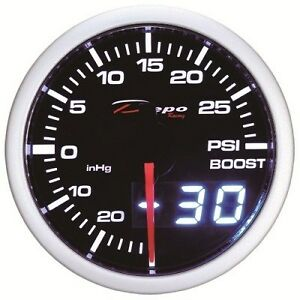 52mm Depo Racing Digital Turbo Boost Gauge 30 Psi White Amber Red Wa5201led