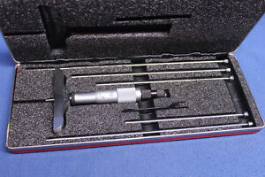 Starrett Micrometer Depth Gage Depth Rods Case 445 Machinist Tools