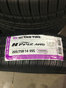 2 New 205 75 14 Nexen N priz Ah5 White Wall Tires