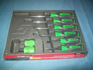 New Snap On Instinct Green Hard Handled 8piece Screwdriver Set Shdx80bg Sealed