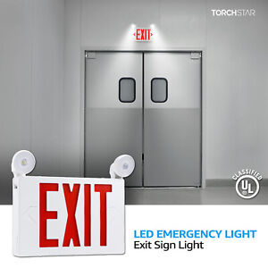 Red Led Exit Sign Ul listed Emergency Light Ac 120v 277v Battery Included